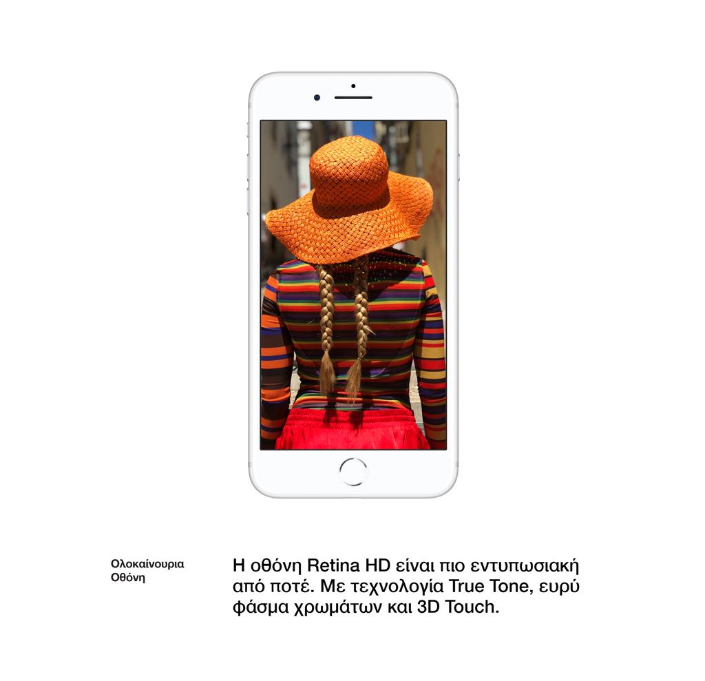 Ολοκαίνουρια Οθόνη. Η οθόνηRetina HDείναι πιο εντυπωσιακή από ποτέ. Με τεχνολογίαTrue Tone,ευρύ φάσμα χρωμάτων και3D Touch.