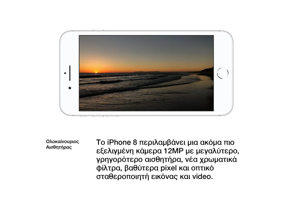 Ολοκαίνουριος Αισθητήρας. Το iPhone 8περιλαμβάνει μια ακόμα πιο εξελιγμένη κάμερα 12MPμε μεγαλύτερο, γρηγορότερο αισθητήρα, νέα χρωματικά φίλτρα, βαθύτεραpixel και οπτικό σταθεροποιητή εικόνας και video.